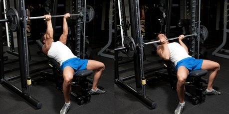 Picture of reverse grip incline bench press for rotator cuff